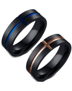 COI Titanium Black Rose/Blue Cross Pipe Cut Flat Ring-5644