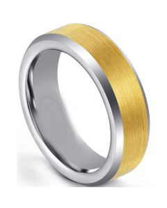 COI Tungsten Carbide Gold Tone Silver Beveled Edges Rng-5671