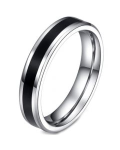 COI Titanium Black Silver Pipe Cut Flat Ring-5676