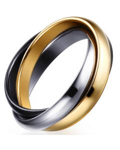 COI Titanium Silver Gold Tone Black Dome Court Ring-5680
