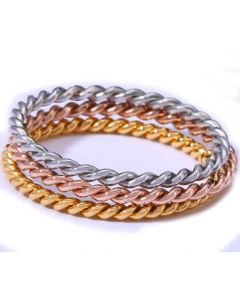 COI Titanium Rose Gold Tone Silver Twisted Rings-5690(A Set with 3 Rings)