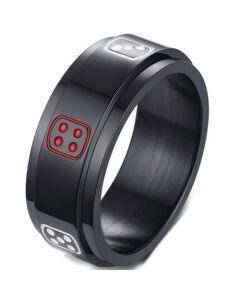 COI Black Titanium Dice Step Edges Ring-5697