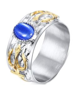 COI Titanium Gold Tone Silver Ring With Created Blue Sapphire-5726