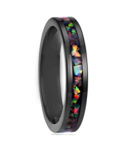 COI Black Titanium Crushed Opal Pipe Cut Flat Ring-5789