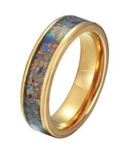 COI Gold Tone Tungsten Carbide Crushed Opal Pipe Cut Flat Ring-5792