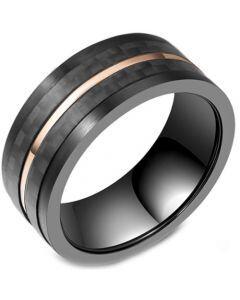 *COI Titanium Black Rose Pipe Cut Flat Ring With Carbon FIber-5803