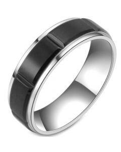COI Titanium Black Silver Grooves Ring-5806