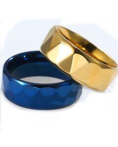 COI Titanium Gold Tone/Blue Faceted Ring-5808