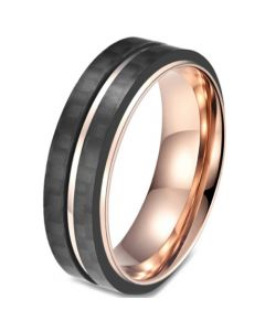 COI Titanium Black Rose Center Groove Ring-5815