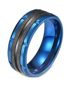 **COI Titanium Black Blue Tire Tread Ring-5820