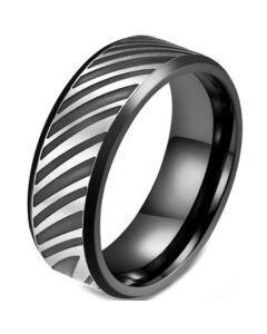 COI Titanium Black Silver Beveled Edges Ring-5821