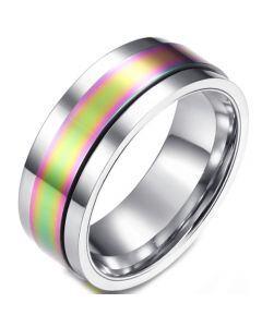 COI Titanium Rainbow Pride Step Edges Ring-5840