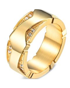 COI Titanium Gold Tone/Silver Ring With Cubic Zirconia-5841
