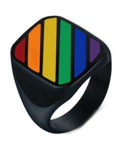 COI Black Titanium Rainbow Pride Ring-5843