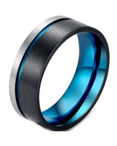 COI Titanium Black Blue Offset Groove Pipe Cut Flat Ring-5873