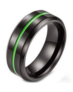 COI Black Titanium Purple/Green/Rose Center Grooves Beveled Edges Ring-5882