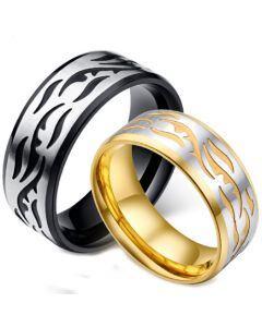 *COI Titanium Silver Black/Gold Tone Celtic Beveled Edges Ring-5885