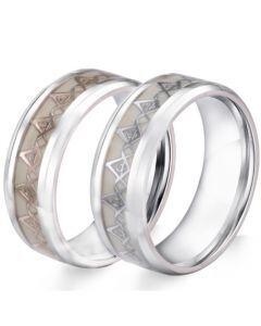 COI Titanium Gold Tone/Silver Masonic Luminous Beveled Edges Ring-5888