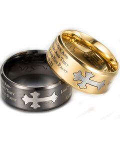 *COI Titanium Silver Black/Gold Tone Cross Prayer Beveled Edges Ring-5889