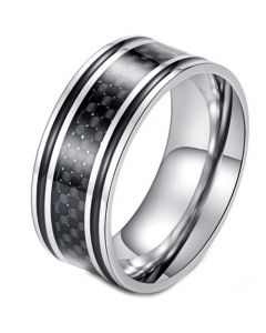 COI Titanium Black Silver Carbon Fiber/Wood Ring-5898