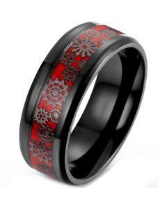 **COI Titanium Black Red Gears Beveled Edges Ring-5900