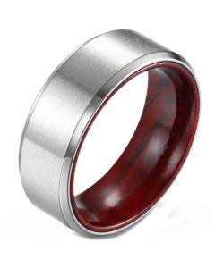 COI Titanium Beveled Edges Ring With Wood-5902