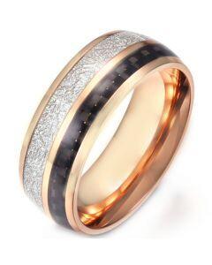 *COI Titanium Rose/Silver Meteorite & Carbon Fiber Dome Court Ring-5903
