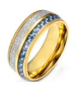 COI Titanium Gold Tone/Silver Meteorite & Carbon Fiber Dome Court Ring-5904