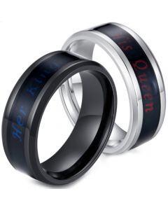 *COI Titanium Black/Silver Her King His Queen Beveled Edges Ring-5908