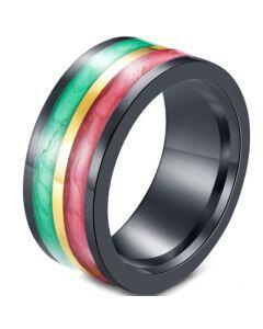 *COI Black Titanium Green Red Yellow Resin Ring-5918
