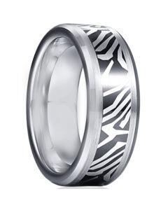 *COI Tungsten Carbide Black Silver Damascus Pattern Beveled Edges Ring-5930