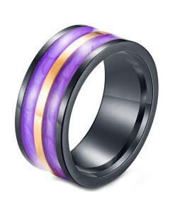 *COI Titanium Black Purple Yellow Resin Ring-5963