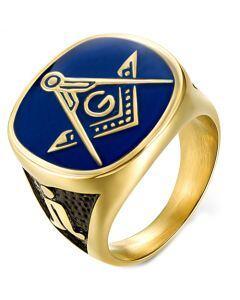 *COI Titanium Black Blue Gold Tone Masonic Ring-5980