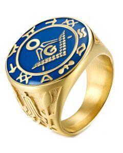 *COI Titanium Blue Gold Tone Masonic Ring-5981