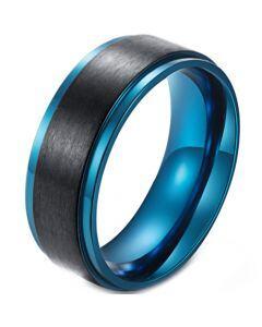 *COI Titanium Black Blue Step Edges Ring-5982