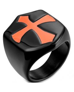 *COI Titanium Black/Silver/Gold Tone Ring With Rose Cross-5989