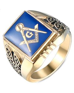 *COI Titanium Black Blue Gold Tone Masonic Freemason Ring-5995