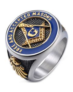 *COI Titanium Black Blue Gold Tone Masonic Freemason Ring-5998