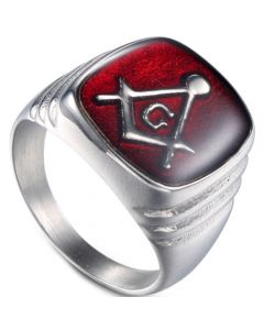 *COI Titanium Red Gold Tone/Silver Masonic Ring-6018