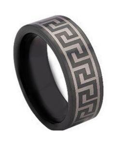 COI Black Tungsten Carbide Greek Key Ring - TG673