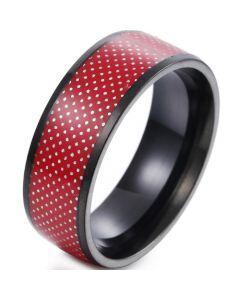 *COI Titanium Black Red Dome Court Ring-6843