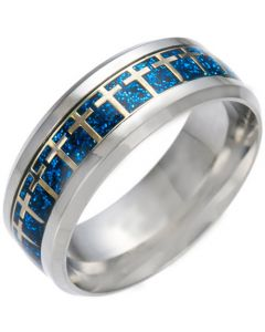 *COI Titanium Cross Beveled Edges Ring With Gold Tone/Silver/Blue Meteorite-6849