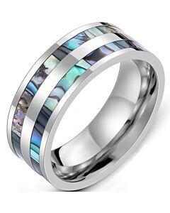 *COI Titanium Abalone Shell Pipe Cut Flat Ring-6852
