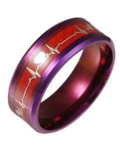 **COI Titanium Red Purple Heartbeat Beveled Edges Ring-6854