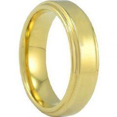 COI Gold Tone Tungsten Carbide Step Edges Ring - TG686A