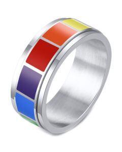 *COI Titanium Rainbow Pride Center Rotating Step Edges Ring-6871