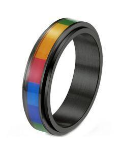 *COI Titanium Black/Gold Tone/Silver Rainbow Pride Step Edges Ring-6879