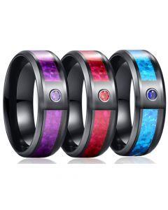 *COI Black Titanium Carbon Fiber Beveled Edges Ring With Cubic Zirconia-6883