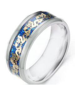 *COI Titanium Dragon Ring With Blue Meteorite-6894