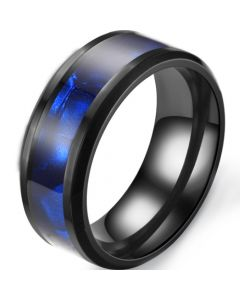 *COI Black Titanium Abalone Shell Beveled Edges Ring-6896